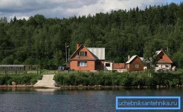 Фото загородного коттеджа на берегу реки