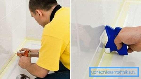 Герметизация стыков между стеной и бортиком поддона.