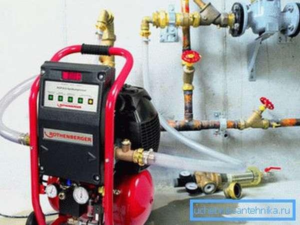 Гидропневматическая промывка систем отопления с помощью компрессора