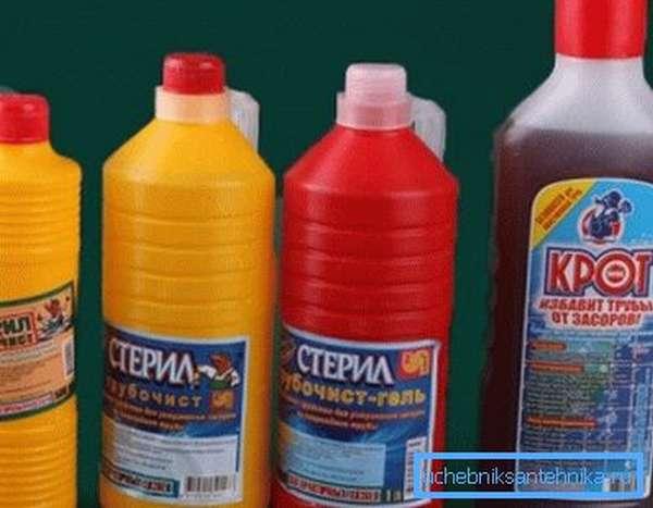 Химические средства для очистки канализации