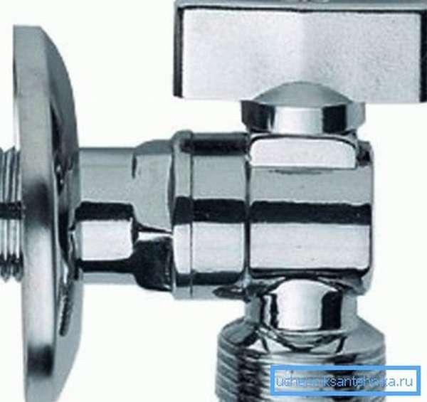 Хромированные угловые краны для подключения стиральной машины Rubinetta