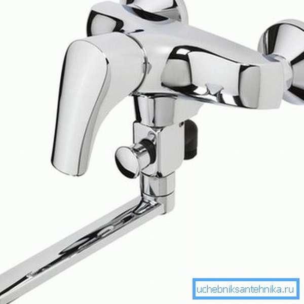 Хромовый излив для смесителя в ванну 45 см