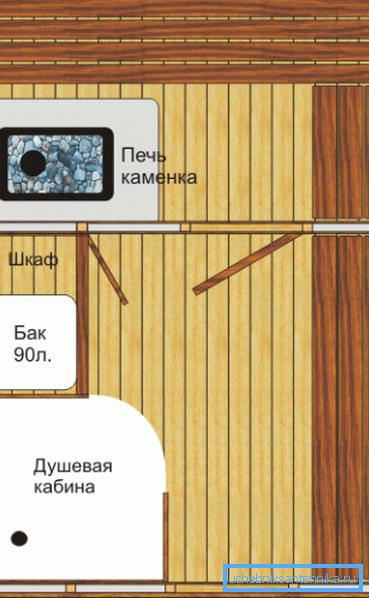 Идеально, если душевая кабина для бани проектируется еще до постройки здания