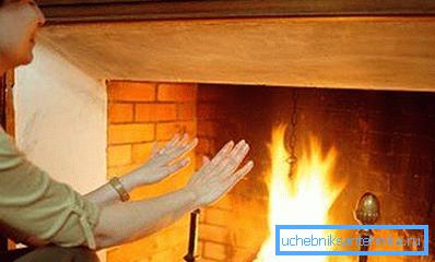 Инфракрасное излучение от горящего топлива прогревает рядом расположенные предметы, которые затем нагревают воздух