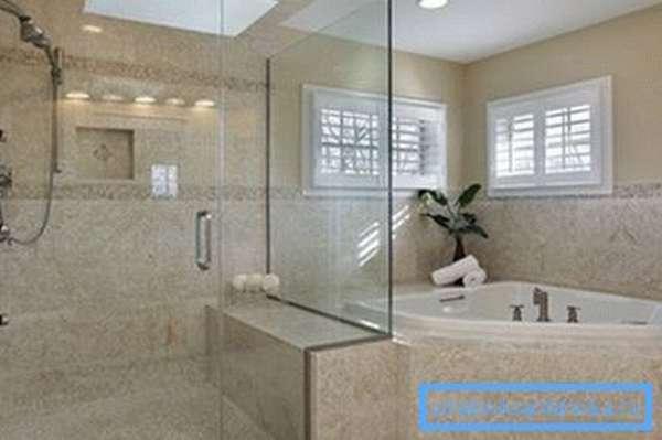 Интересный дизайн ванной и душевой в одной комнате