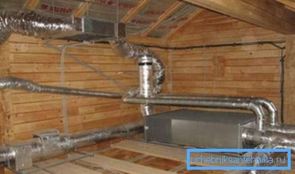 Калорифер в вентиляционной системе коттеджа.