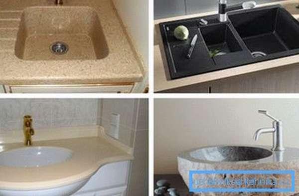 Каменная раковина для ванной комнаты и кухни