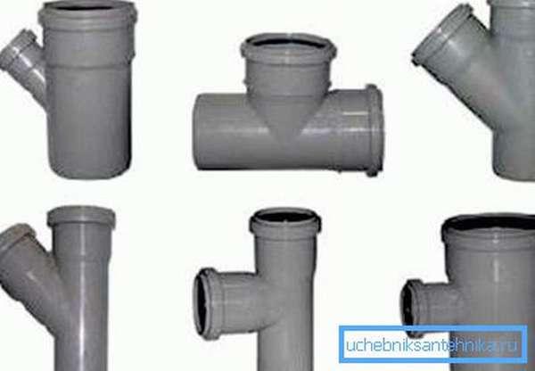 Канализационные пластиковые тройники для труб