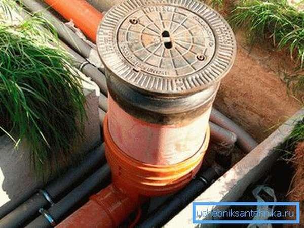 Смотровой канализационный колодец из пластика