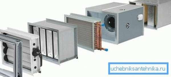 Канальная приточная установка с фильтром и теплообменником.