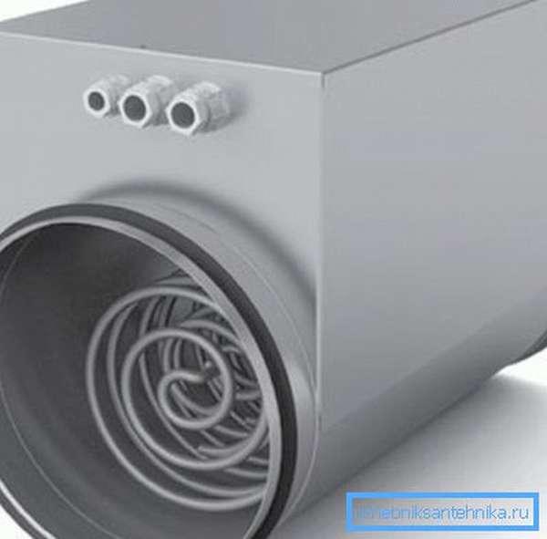 Канальный нагреватель воздуха, который в последнее время используется довольно часто
