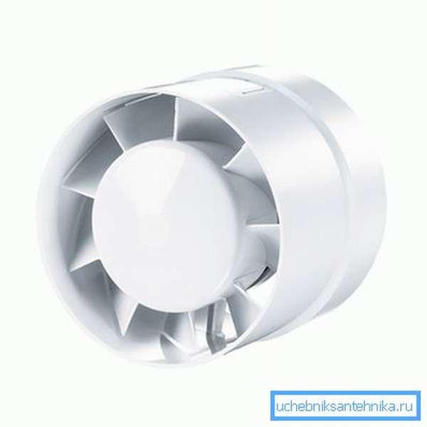 Канальный вентилятор Вентс 100 ВКО Турбо. Потребляемая мощность - 16 ватт.