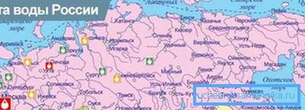 Карта водопроводной воды Российской Федерации.