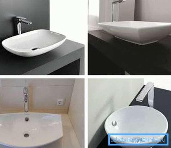 Керамическая раковина накладная на столешницу в ванную комнату