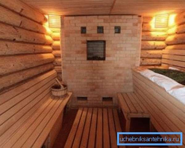 Кирпичная каменка в интерьере бани