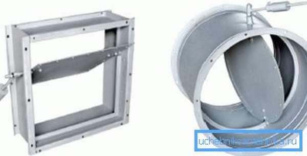 Клапаны могут быть как круглого, так и прямоугольного сечения, что очень удобно
