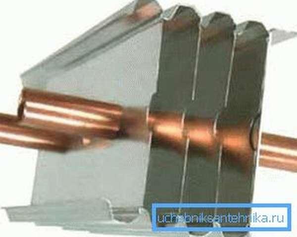 Комбинация медных трубок и алюминиевых пластин