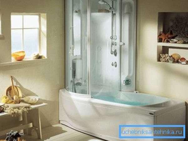 Комбинированная ванна с душевой кабинкой