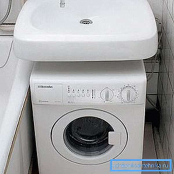 Компактная стиральная машинка под раковиной в ванной