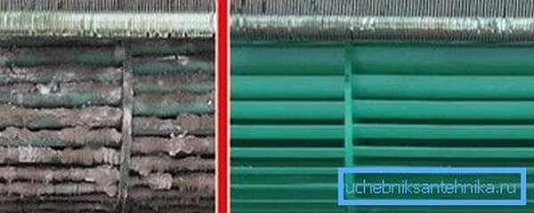 Кондиционер до и после очистки – как видите, разница огромна