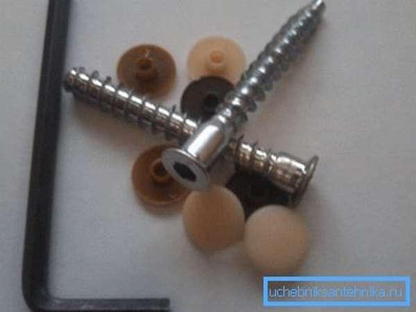 Конфирматы, торцевой ключ и пластиковые заглушки