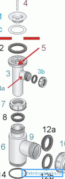 Конструкция разборного сифона