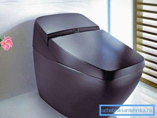 Коричневый унитаз с фиолетовым отливом в стиле хай-тек отлично впишется в минималистический дизайн