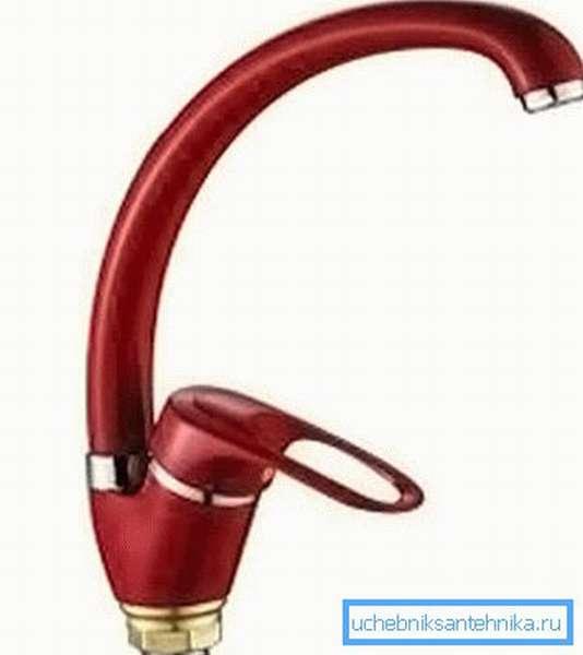 Красный смеситель для раковины с совместным регулятором