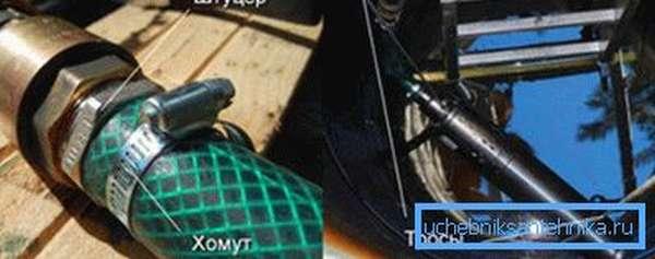 Крепление шланга и металлического троса.