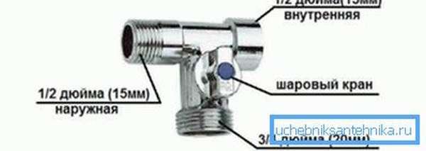 Латунный кран для подключения стиральной машины к водопроводу