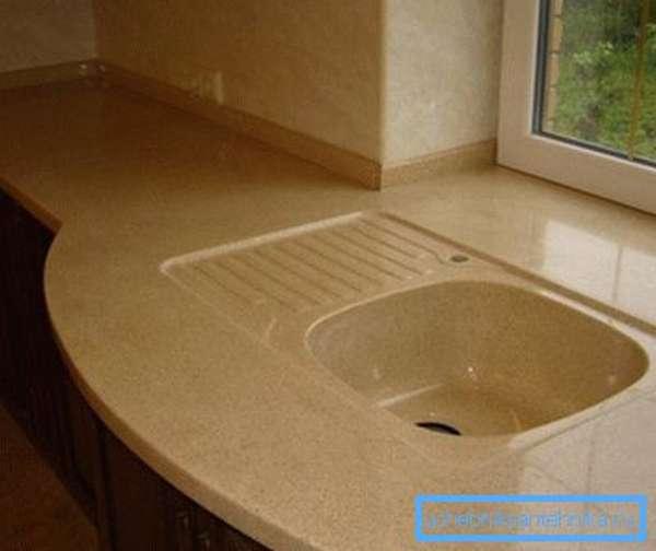 Литая столешница с раковиной для кухни из искусственного камня