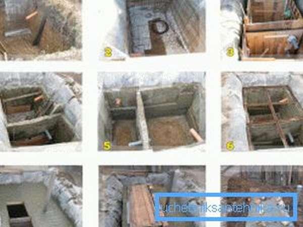 Любительские фото поэтапного процесса изготовления септика из бетона для отвода канализации