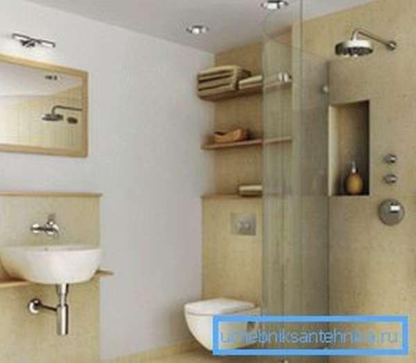 Любительское фото ванной комнаты, в которой установлена подобная конструкция