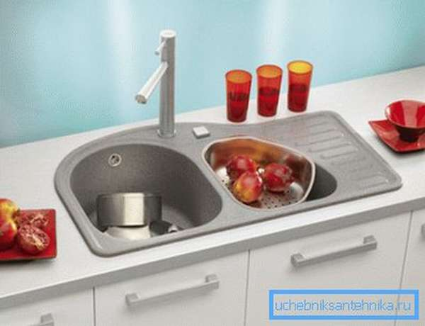 Модель с двумя чашами и крылом для сушки посуды.