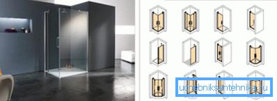 Модельный ряд от известного производителя, показывающий принцип расположения конструкции с вариантами размещения ограждений и дополнительных стенок