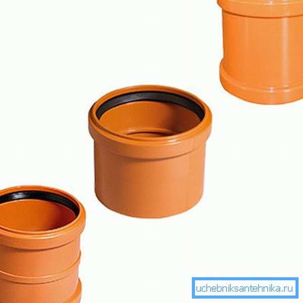 Муфты с резиновым кольцом для наружной канализации