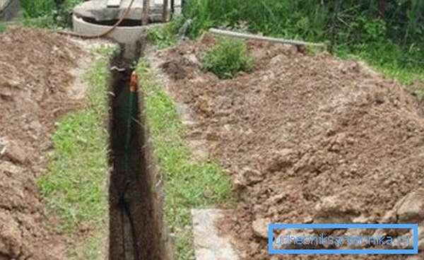 На фото - прокладка труб водоснабжения от колодца