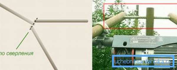 На фото- пример монтажа треноги из металлических труб