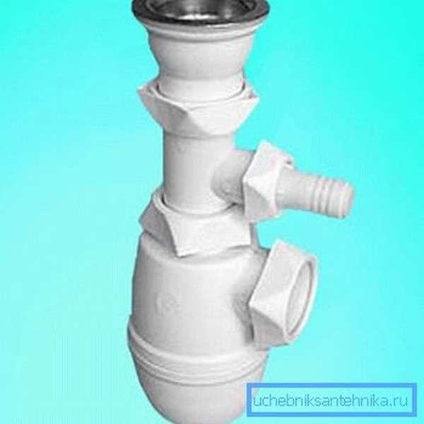 На фото – бутылочный гидрозатвор
