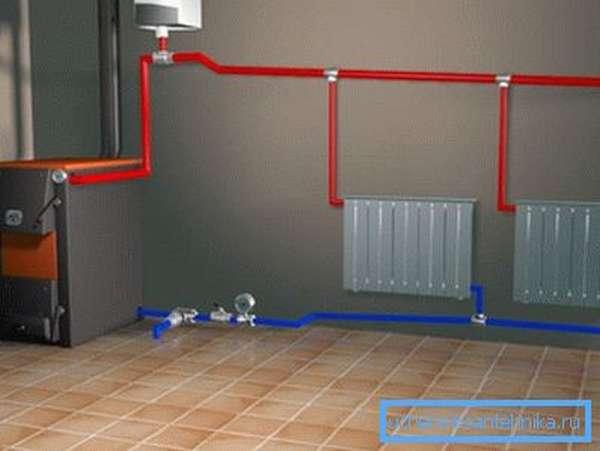 На фото - энергонезависимая система отопления