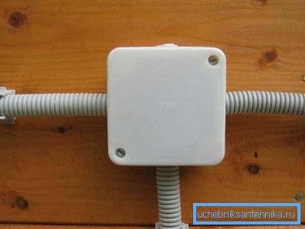 На фото –использование трубопровода в качестве кабель-канала