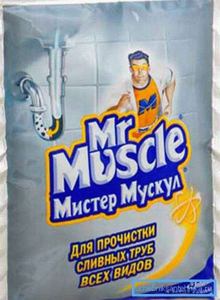 На фото - Мистер Мускул для прочистки любых видов канализационных труб