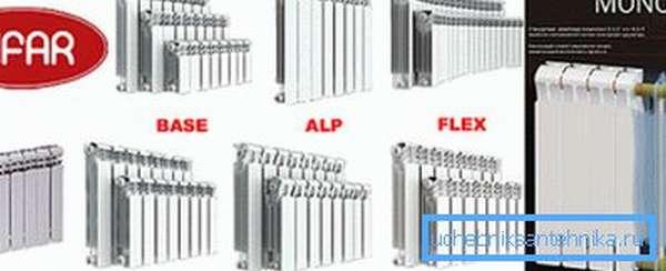 На фото – модельный ряд биметаллических радиаторов «Рифар»