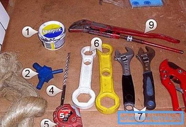 На фото – набор инструментов для замены радиатора