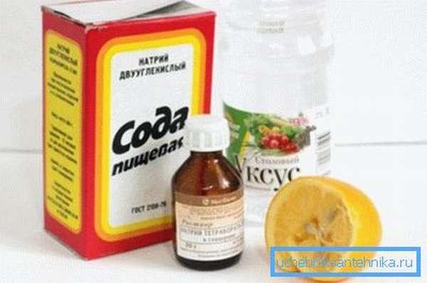 На фото – набор нехитрых ингредиентов для приготовления мощного чистящего средства