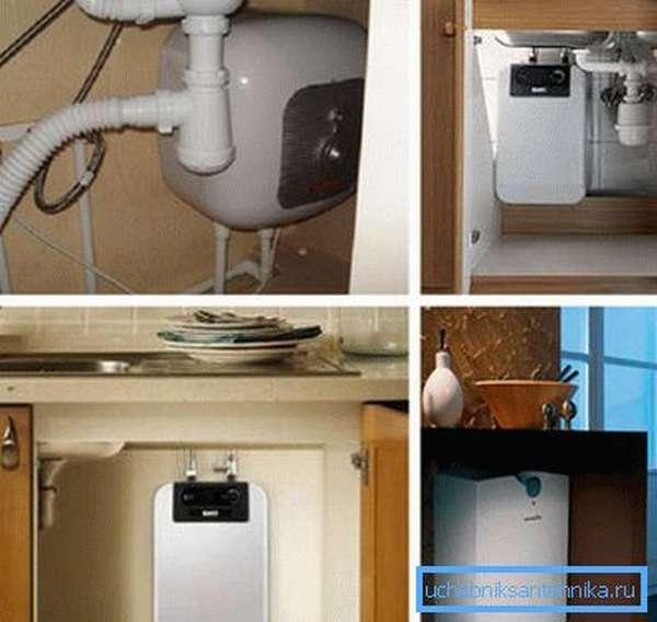 На фото - накопительные водонагреватели под раковиной