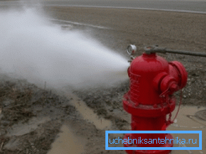 На фото: наружный водопровод противопожарного назначение должен периодически испытываться на предмет работоспособности