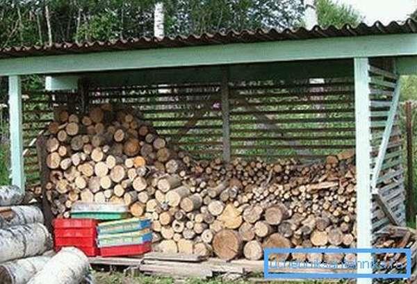 На фото – навес для хранения дров