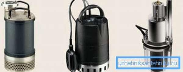 На фото отображены различные модели перекачивающего воду оборудования