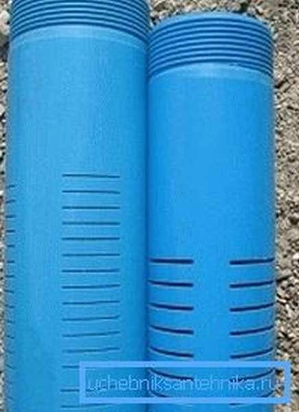 На фото – перфорация пластикового трубопровода прорезями